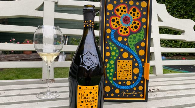 This is the latest release of Veuve Clicquot's icon cuvée, La Grande Dame. The bottle pictured is the limited edition with the label and packaging designed by Japanese artist Yayoi Kusama.