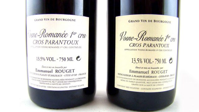 Side by side comparison of fake and authentic Rouget Vosne-Romanée; the fake bottle is on the left. Photo courtesy of Chai Consulting.