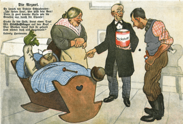 Above, a postcard from the German fertilizer industry of the 1920s. At the time, perspectives on soil were changing: Until then, people had spoken of plant growth as being affected by forces; afterward, it was substances. Deficiencies could simply be addressed with the help of agrochemistry.