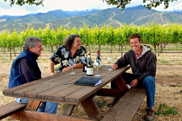 In Garys' Vineyard, Santa Lucia Highlands (from left), Gary Franscioni and Gary and Mark Pisoni who grow some of California's most iconic Pinot noirs —typically in the 15% alcohol range. / Randy Caparoso Photography