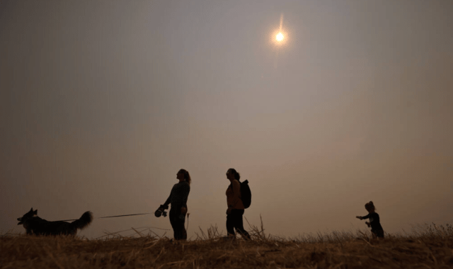 From left, Lucy Whitney, Sarah Jacobs and her daughter Charlotte take Finn for a walk at Crane Creek Regional Park near Rohnert Park, as Smoke from forest fires in far Northern California settles in earlier this month. Air quality in Sonoma County is set to drop on Wednesday as more smoke blows in. (Kent Porter / The Press Democrat) 2021
