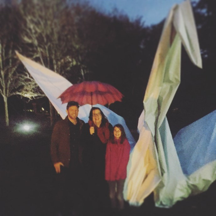 My Giant Origami Crane, with a human family for scale.
