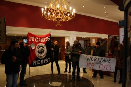 Anti Workfare Noise Demo inside the Marriot