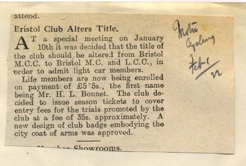 Bristol Club Alters Title