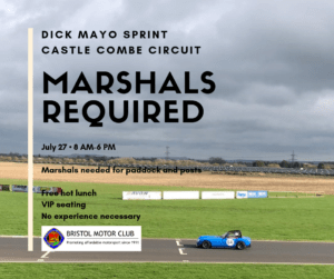 Marshals Required: Dick Mayo Sprint