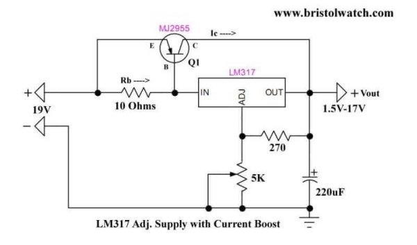 LM317 Adjustable Voltage Current Boost Power Supply