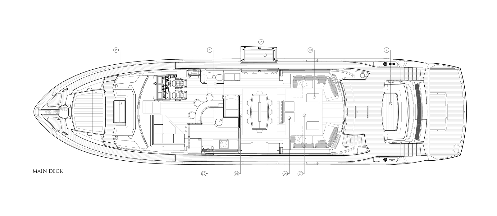 Sunseeker 86 Yacht - Main Deck - Layout