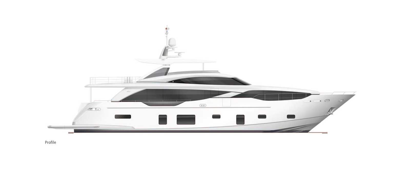 Princess 30 Metre Yacht Bandazul - Side Profile GA