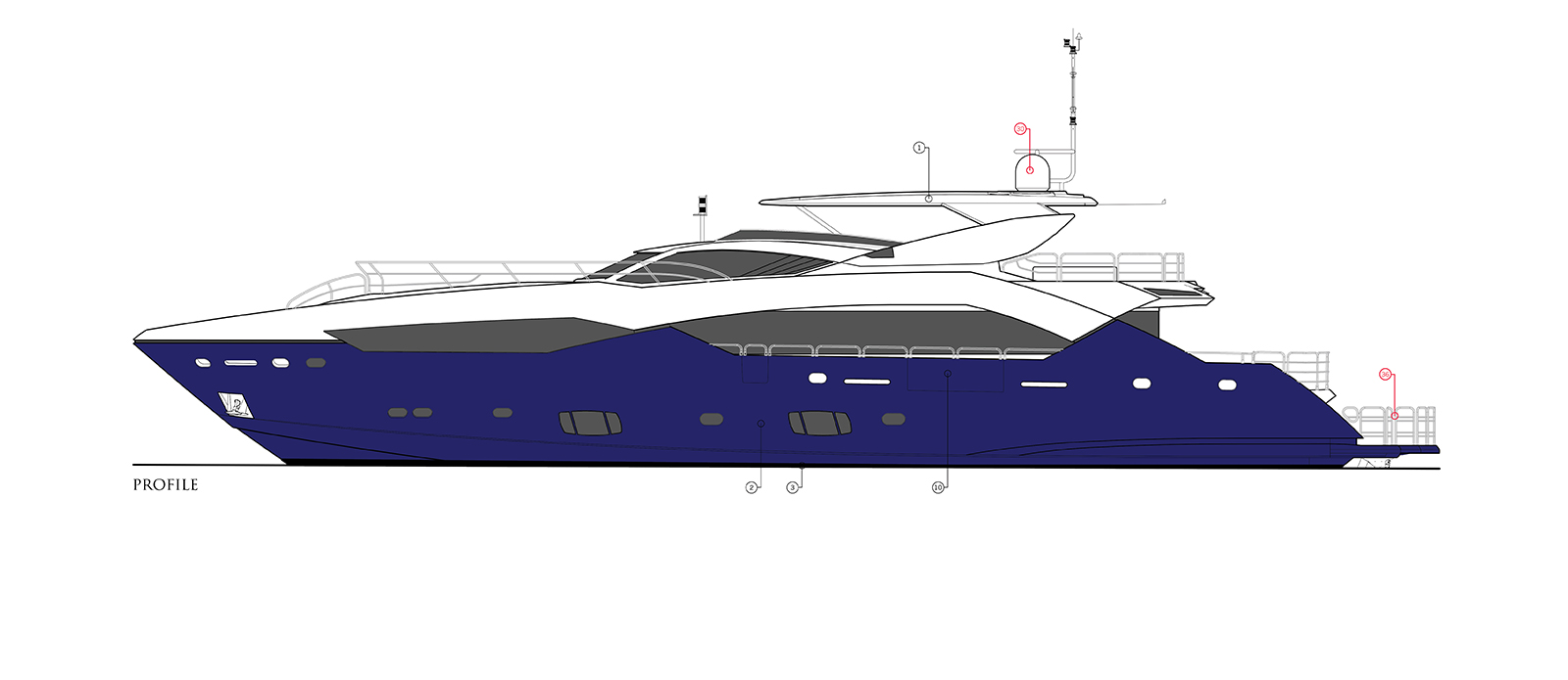 Sunseeker 115 Predator Zulu Side Deck Layout