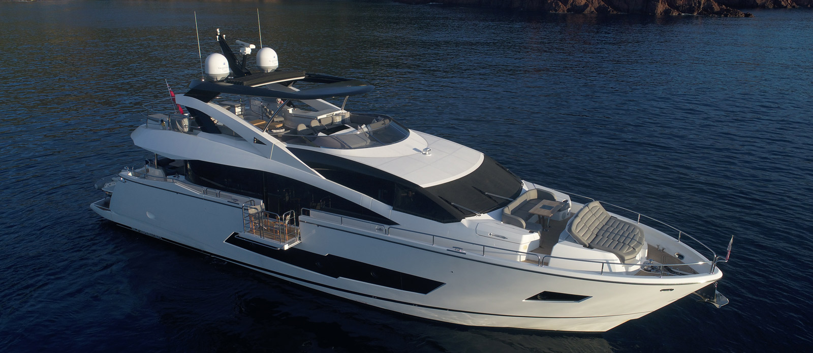 Sunseeker 86 Yacht MiBowt Overhead Side Shot