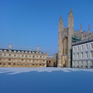 Cambridge King's College snow