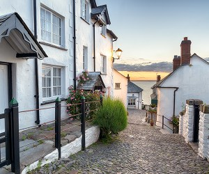 A cobbled road in a North Devon village