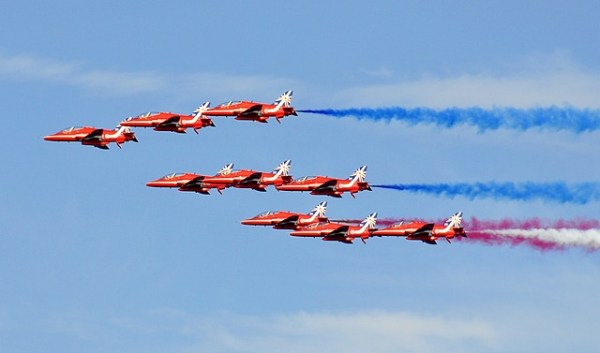 Red arrows, fighter jets