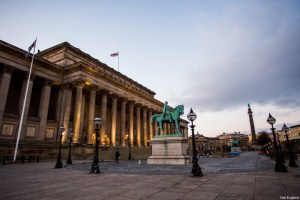 Exterior view of the neoclassical St Georges Hall in Liverpool