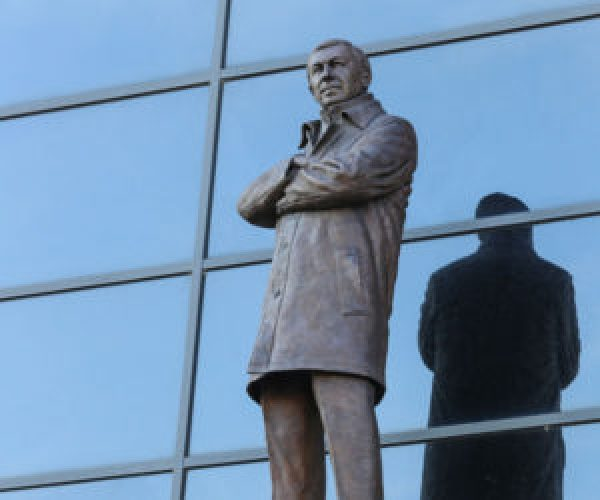 Manchester football stadium statue