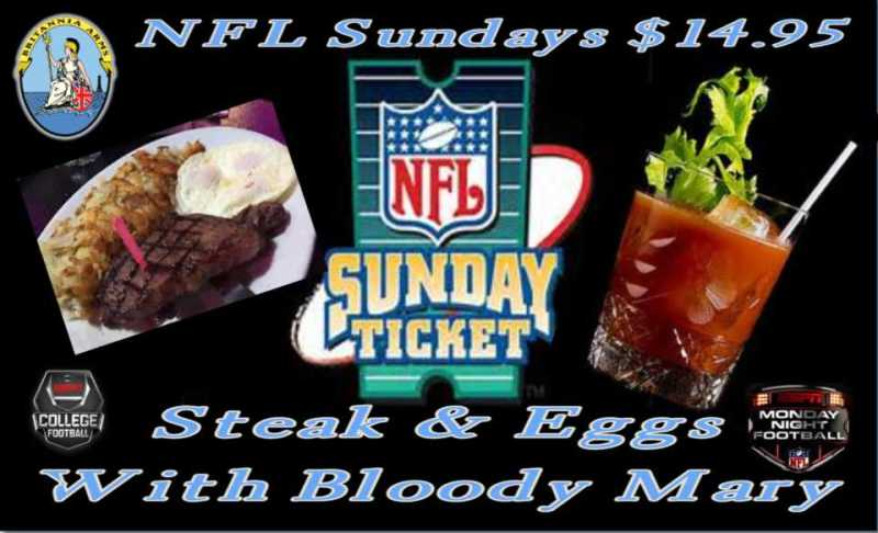 NFL Sunday steak and eggs and a bloody mary