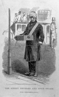 Drawing of a street salesman in 1851 London