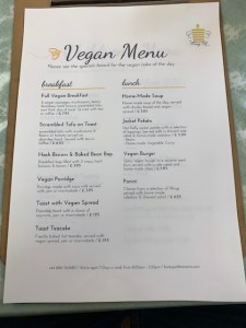 Honey Pot Tea Room - Vegan Menu