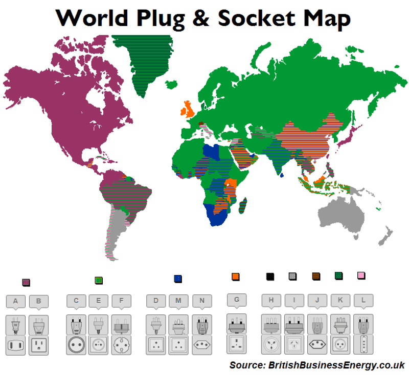 World Plug and Socket Map from British Business Energy