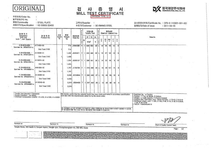 EN 10204-3.1 Mill sheet