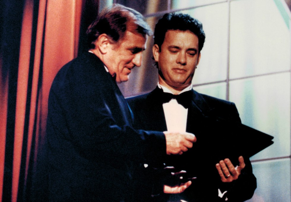 Tom Hanks presents Otto Nemenz with an Academy Sci Tech Award for the Canon/Nemenz Zoom Lens