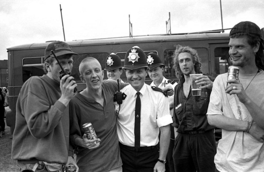 Back To The Planet with police at Fordham Park, New Cross, London, 1993. Photo © Martyn Goodacre.