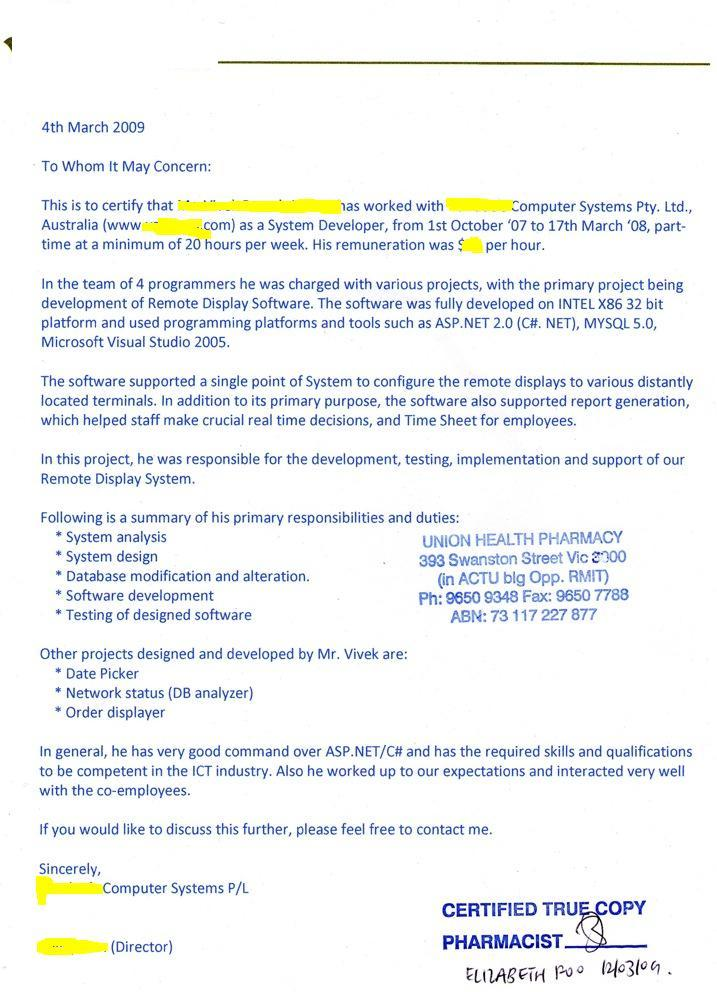 sle employment letter for australian visa cover