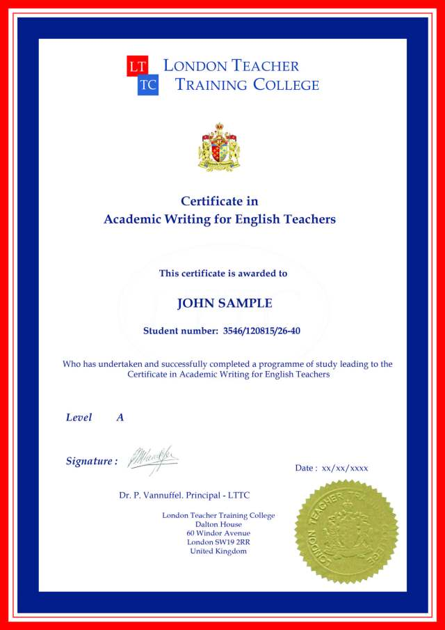 Certificate in Academic Writing for English Teachers
