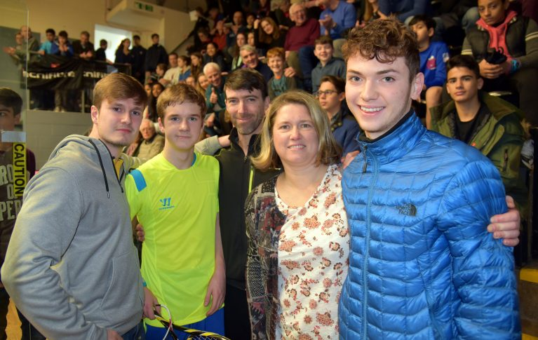 From left, brother Nikita Gilevskiy, champion Denis, Irish national squash coach Hadrian Stiff, Denis's mum Elena Gilevskiy and fellow Ireland player Scott Gillanders, who plays in the Under 17s category. Photograph by Steve Cubbins.