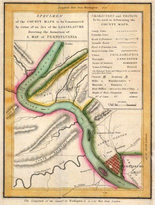Specimen of the county maps to be constructed by virtue of an act of the legislature directing the formation of a map of Pennsylvania