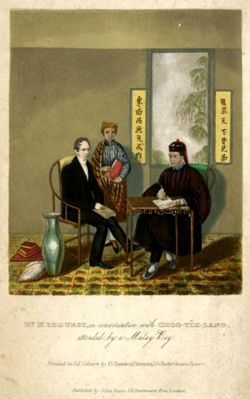 Mr. Medhurst, in conversation with Choo-Tih-Lang, attended by a Malay Boy.