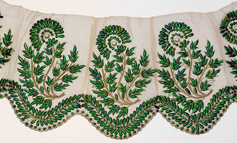 Muslin border embroidered with beetle wings, probably Hyderabad, 19th century. © Victoria and Albert Museum