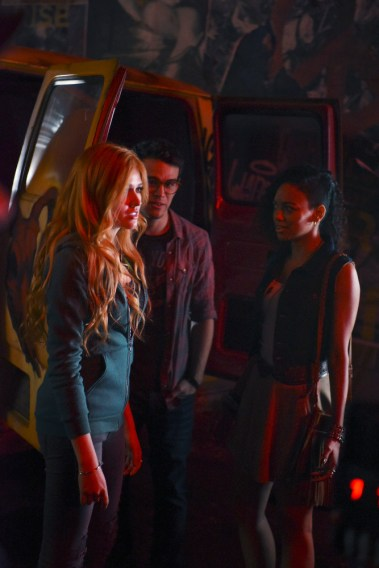 """SHADOWHUNTERS - """"The Mortal Cup"""" - One young woman realizes how dark the city can really be when she learns the truth about her past in the series premiere of """"Shadowhunters"""" on Tuesday, January 12th at 9:00 - 10:00 PM ET/PT. ABC Family is becoming Freeform in January 2016. Based on the bestselling young adult fantasy book series The Mortal Instruments by Cassandra Clare, """"Shadowhunters"""" follows Clary Fray, who finds out on her birthday that she is not who she thinks she is but rather comes from a long line of Shadowhunters - human-angel hybrids who hunt down demons. Now thrown into the world of demon hunting after her mother is kidnapped, Clary must rely on the mysterious Jace and his fellow Shadowhunters Isabelle and Alec to navigate this new dark world. With her best friend Simon in tow, Clary must now live among faeries, warlocks, vampires and werewolves to find answers that could help her find her mother. Nothing is as it seems, including her close family friend Luke who knows more than he is letting on, as well as the enigmatic warlock Magnus Bane who could hold the key to unlocking Clary's past. (ABC Family/John Medland) KATHERINE MCNAMARA, ALBERTO ROSENDE, SHAILENE GARNETT"""