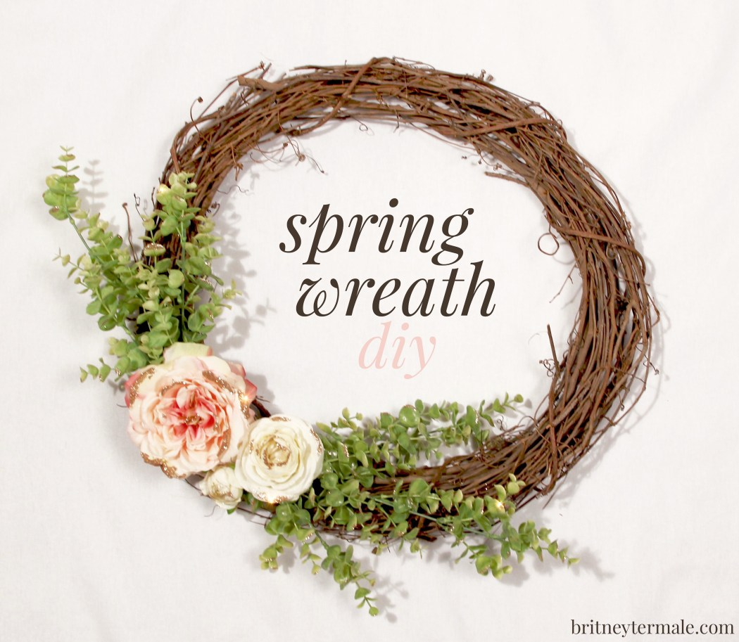 glittered spring wreath diy
