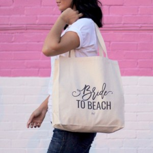 bride to beach canvas tote