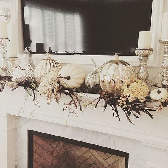 white silver fall mantle design