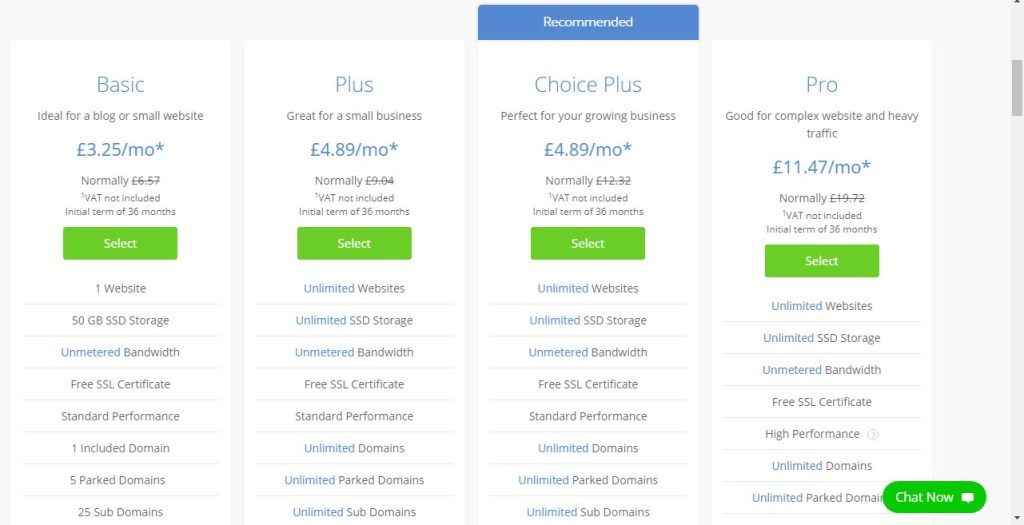 choose your bluehost plan