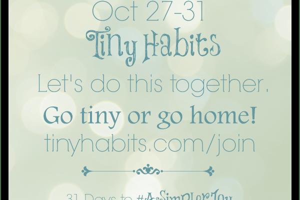 31 Days to #ASimplerJoy: Tiny Habits