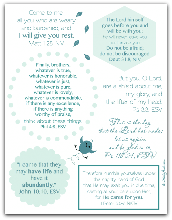 Good Thoughts for Bad Days, scripture printable