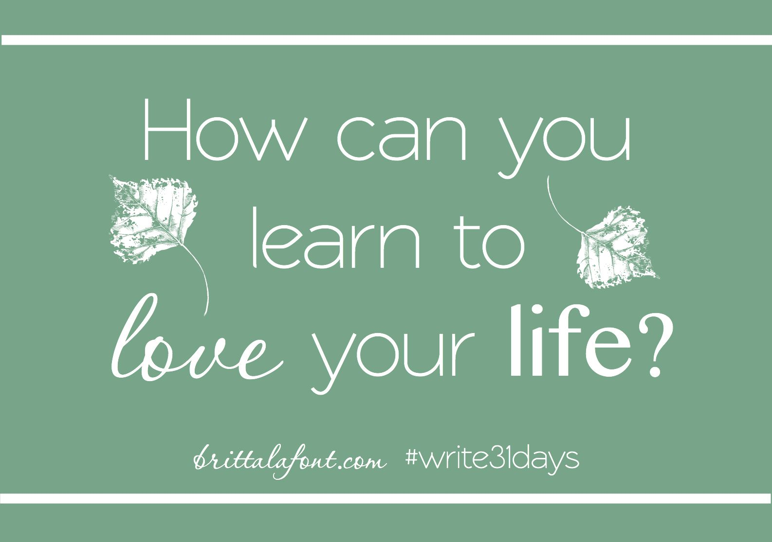 How can you learn to love your llife