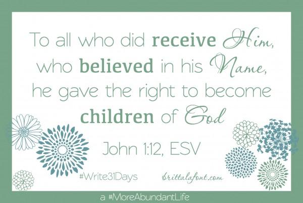 John 1.12 Inseparable