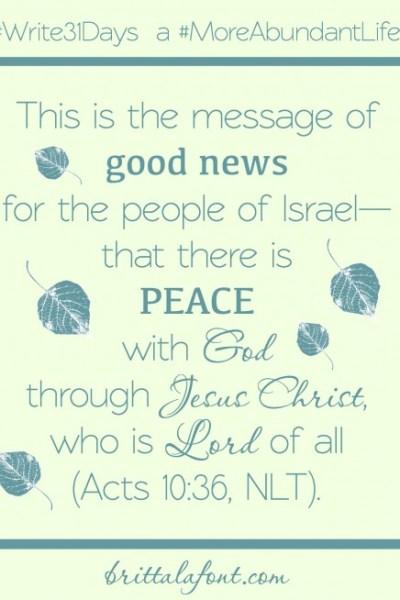 Peace and a #MoreAbundantLife