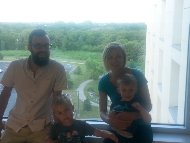 Nate and the boys at the hospital where he works in Oshkosh WI