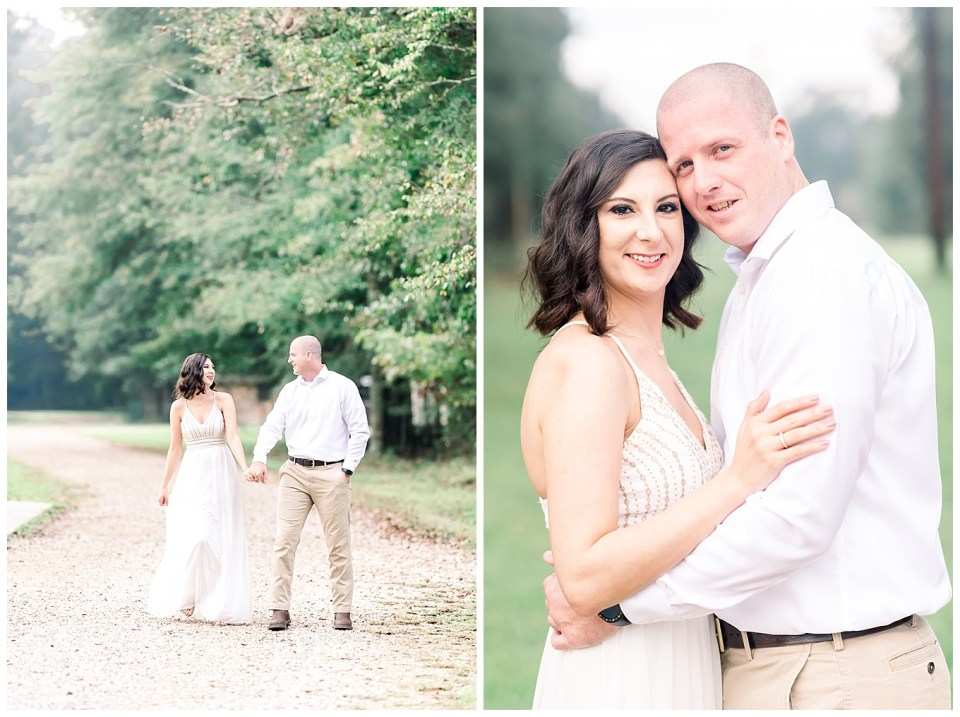 couple during a morning engagement session in louisiana