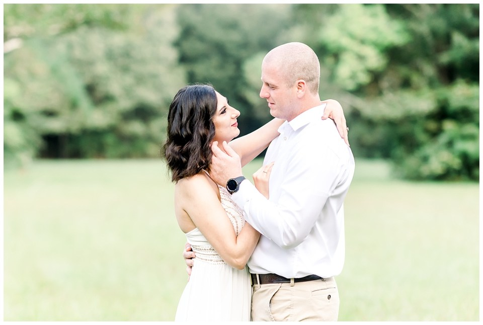 relaxed and fun couple during morning engagement session