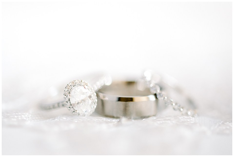 wedding bands and engagement rings macro photo