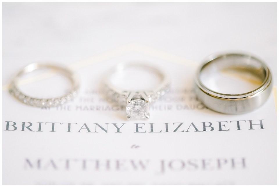 up close wedding invitation and wedding bands