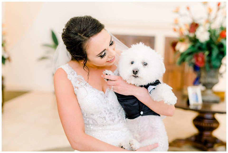 bride with her puppy as ring bearer