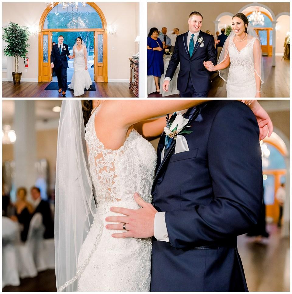 bride and groom entering wedding reception in denham springs louisiana