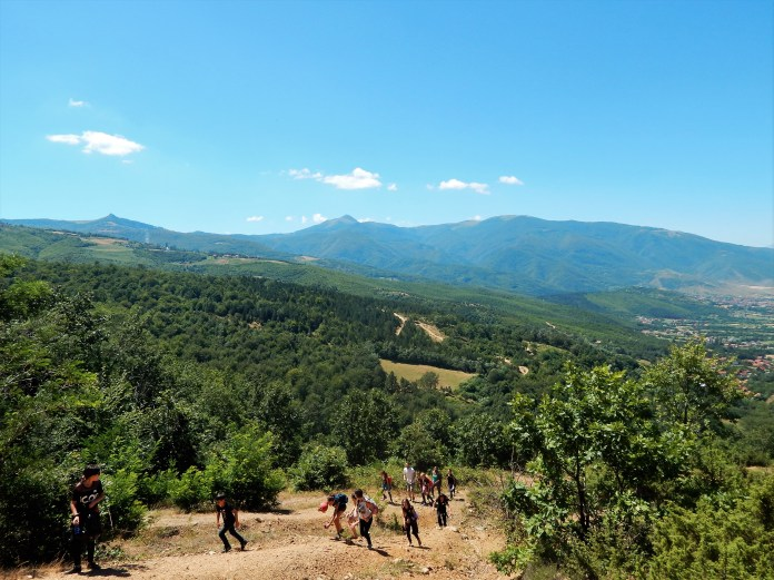 Kosovo kids hiking in the mountains